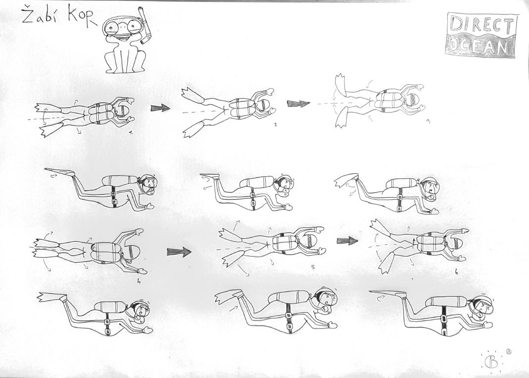 Fáze žabího kopu při potápění